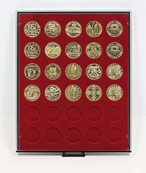 Münzbox RAUCHGLAS mit 30 runden Vertiefungen für Münzen mit ø34 mm