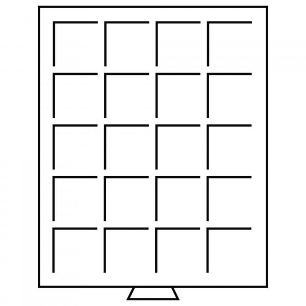 Münzbox 20 eckige Fächer bis 48 mm Ø, grau