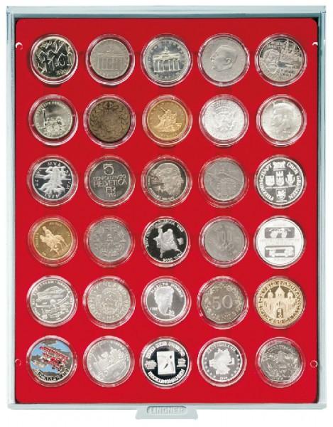 Münzbox STANDARD mit 30 runden Vertiefungen für Münzkapseln mit Außen-ø39,5 mm, z.B. für deutsche 20 Euro-/10 Euro-Silbermünzen in LINDNER Münzkapseln
