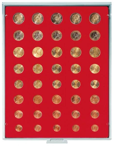 Velourseinlage, hellrot, für 5 Euro-Kursmünzensätze