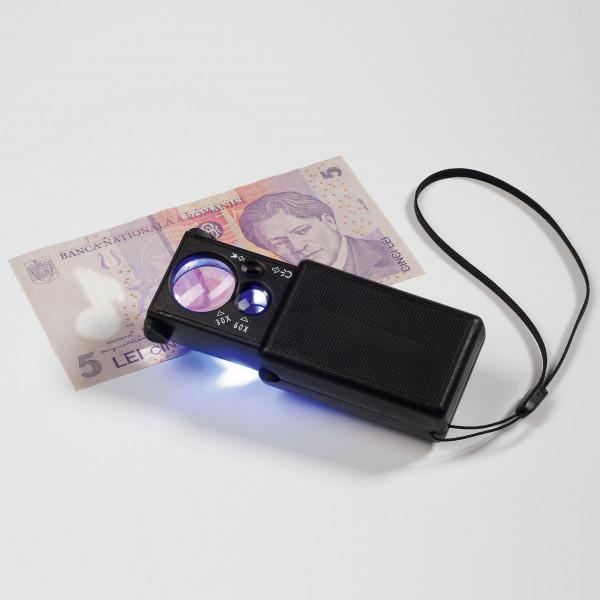 LED-Aufziehlupe, 10 und 30-fache Vergrößerung, schwarz