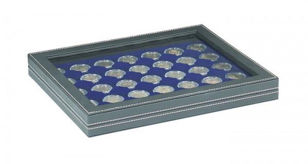 Münzkassette NERA M PLUS mit dunkelblauer Münzeinlage mit 35 runden Vertiefungen für Münzkapseln mit Außen-ø 32 mm, z.B. für 2 Euro-Münzen in LINDNER Münzkapseln