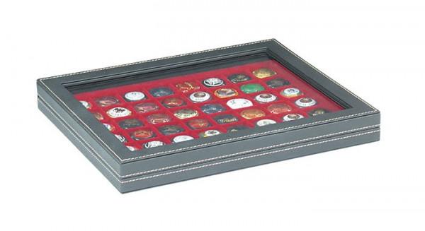 Münzkassette NERA M PLUS mit dunkelroter Münzeinlage mit 48 quadratischen Fächern für Münzen/Münzkapseln bis ø 30 mm oder Champagner-Kapseln