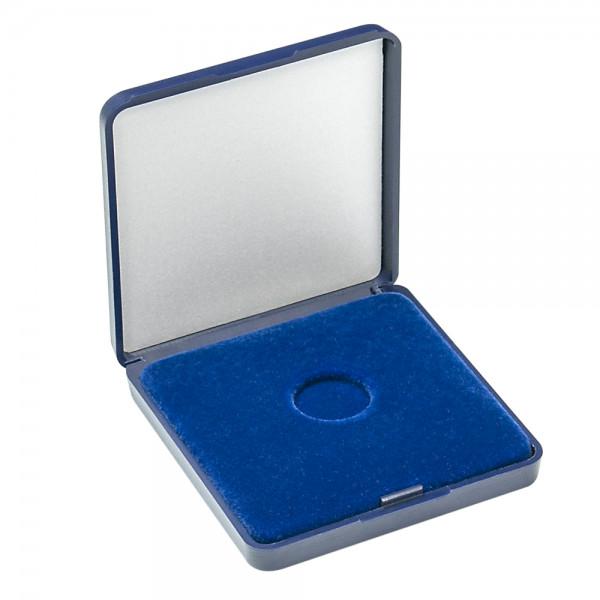 Münz-Etui mit blauer Velourseinlage für Münzen/Münzkapseln bis Außen-ø 18 mm