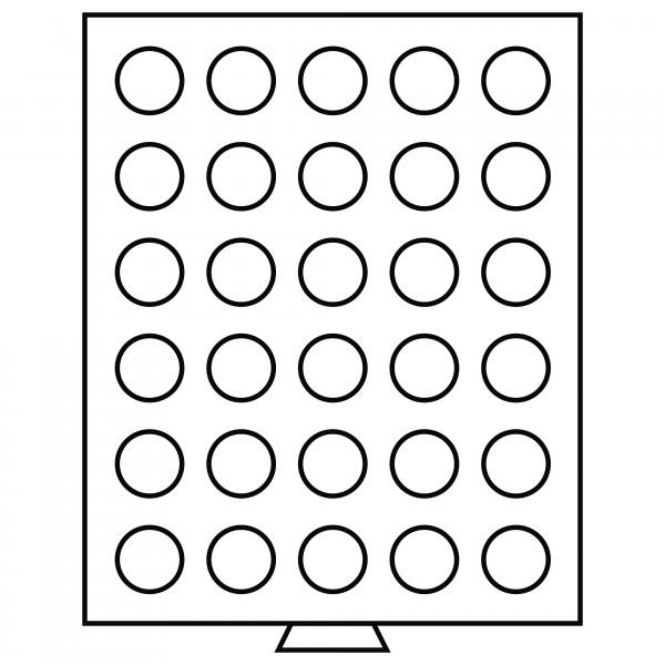 Münzbox 30 runde Fächer (34 mm), rauchfarben