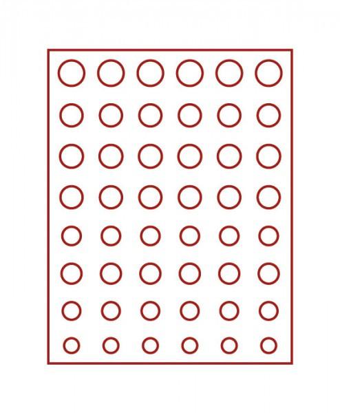 Münzbox-Rahmen CHASSIS Mattschwarz inkl. Münzbox-Rauchglas dunkelrote Einlage für 6 Euro-Kursmünzensätze