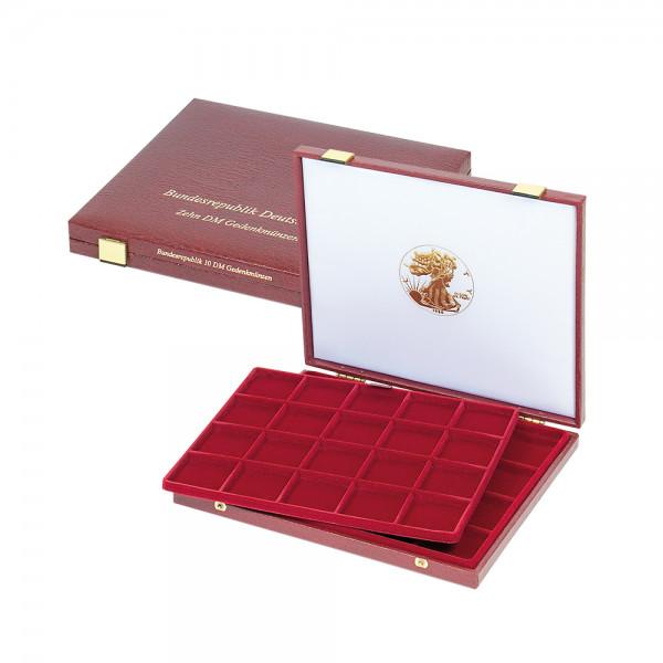 Luxus-Kassette für 40 Münzendosen oder Münzen (7,5 mm Tiefe), quadratische Vertiefungen: 47 x 47 mm