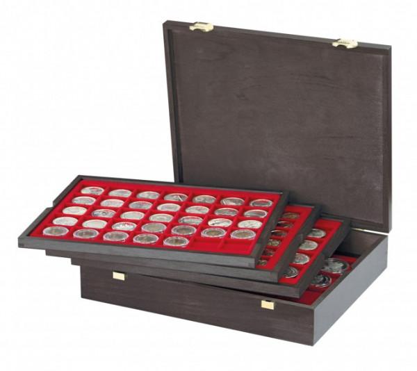 Echtholzkassette CARUS mit 4 Tableaus für 127 Münzen unterschiedlicher Durchmesser