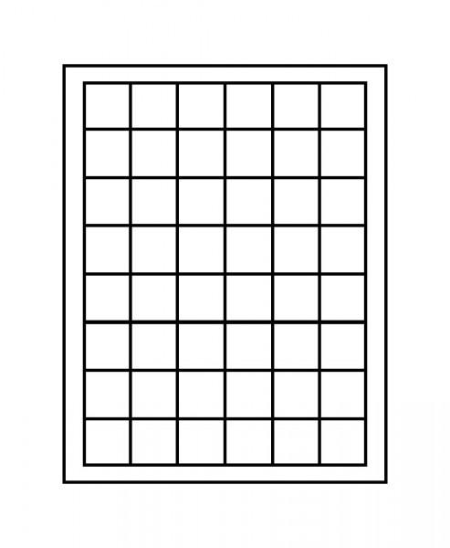 Velourseinlage, schwarz, mit 48 quadratischen Fächern für Münzen/Münzkapseln bis ø30 mm