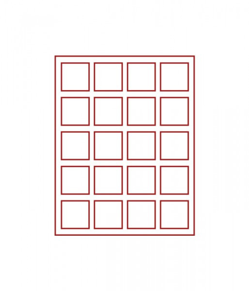 Velourseinlage, RAUCHGLAS mit 20 quadratischen Fächern 47 x 47 mm für Münzen/Medaillen und sonstige Sammelobjekte