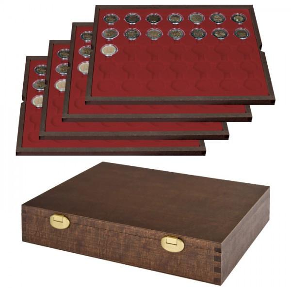 Echtholz Münzkassette mit 4 Tableaus für 140 Münzkapseln mit Außen-ø 32 mm, z.B. für 2 Euro-Münzen in Münzkapseln - SONDEREDITION