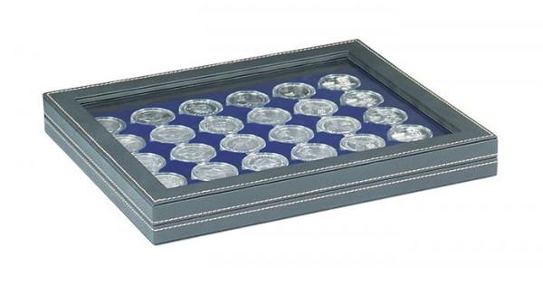 Münzkassette NERA M PLUS mit dunkelblauer Münzeinlage mit 30 runden Vertiefungen für Münzkapseln mit Außen-ø 39,5 mm, z.B. für deutsche 20 Euro-/10 Euro-Silbermünzen in LINDNER Münzkapseln