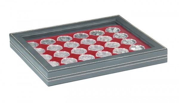 Münzkassette NERA M PLUS mit dunkelroter Münzeinlage mit 30 runden Vertiefungen für Münzkapseln mit Außen-ø 39,5 mm, z.B. für deutsche 20 Euro-/10 Euro-Silbermünzen in LINDNER Münzkapseln