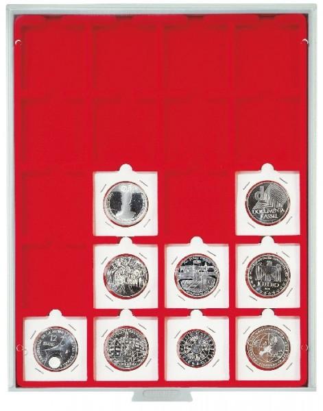 Velourseinlage, hellrot, mit 20 quadratischen Fächern für Münzrähmchen 50x50 mm/Münzkapseln CARRÉE/OCTO Münzkapseln