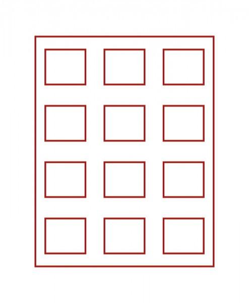 Münzbox RAUCHGLAS mit 12 rechteckigen Fächern für original eingeschweißte 5 DM-Gedenkmünzen PP