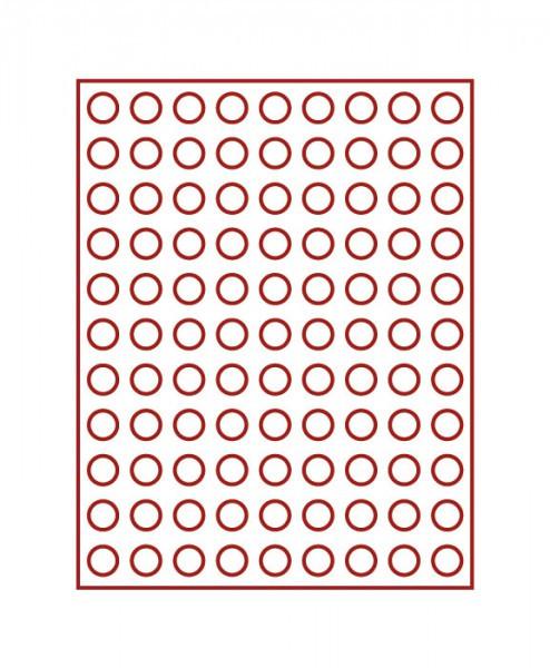 Velourseinlage, dunkelrot, mit 99 runden Vertiefungen für Münzen mit ø19,25 mm