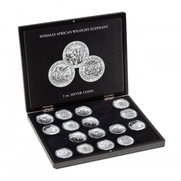 Münzkassette für 20 Somalia Elefant Silbermünzen (1 Oz.) in Kapseln