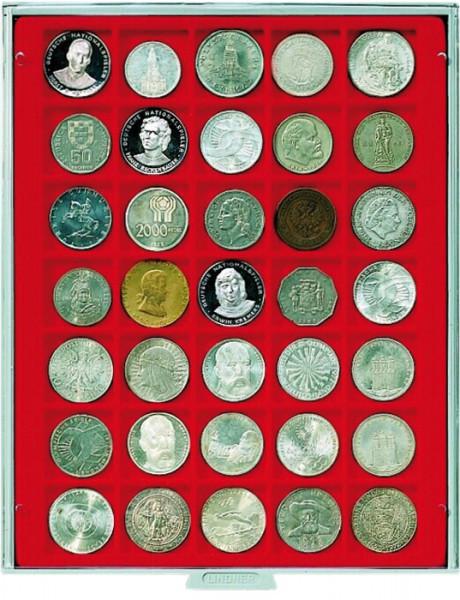 Münzbox STANDARD mit 35 quadratischen Fächern für Münzen/Münzkapseln bis ø36 mm
