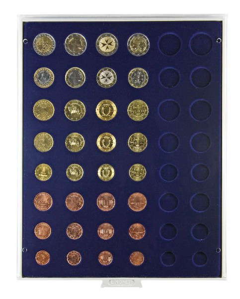 Velourseinlage, dunkelblau, für 6 Euro-Kursmünzensätze