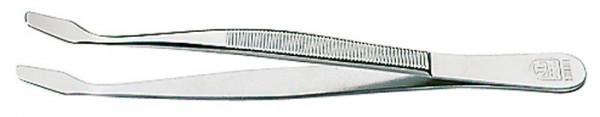 Pinzette, vernickelt, 120 mm, mit abgebogenen Schaufeln