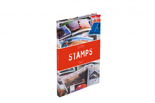 Einsteckbuch STAMPS A4, 16 weiße Seiten, unwattierter, farbiiger Einband (Banderole)