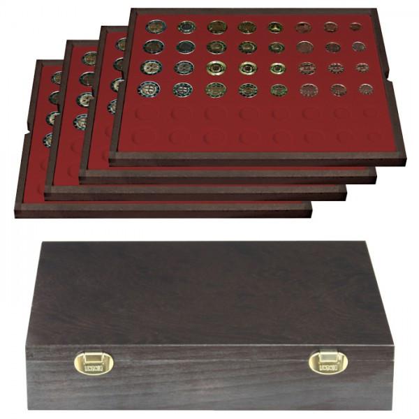 Echtholzkassette CARUS mit 4 Tableaus für 24 Euro-Kursmünzensätze