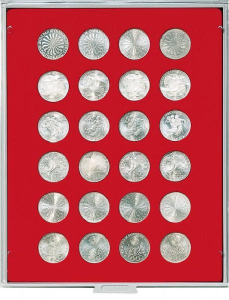 Velourseinlage, hellrot, mit 24 runden Vertiefungen für Münzen mit ø32,5 mm