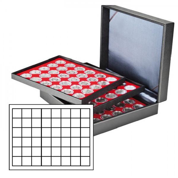 Münzkassette NERA XL mit 3 Tableaus und hellroten Münzeinlagen mit 144 quadratischen Fächern für Münzen/Münzkapseln bis ø 30 mm oder Champagner-Kapseln