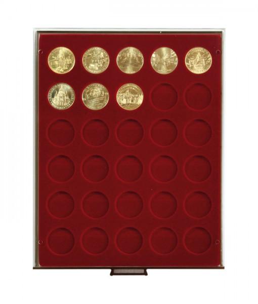 Velourseinlage, dunkelrot, mit 30 runden Vertiefungen für Münzen mit ø34 mm