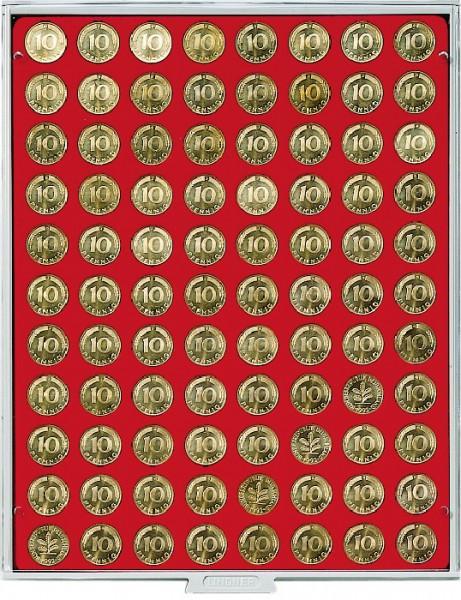 Münzbox STANDARD mit 88 runden Vertiefungen für Münzen mit ø21,5 mm