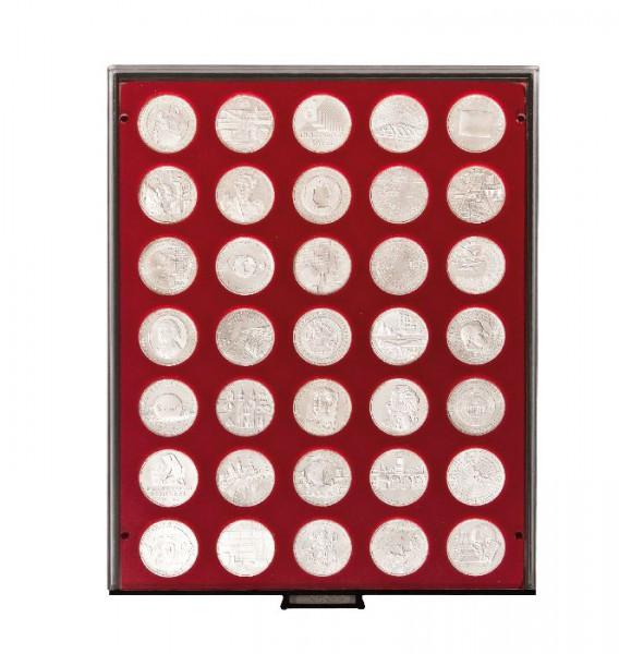 Velourseinlage, dunkelrot, mit 35 runden Vertiefungen für Münzen mit ø32,5 mm, z.B. für deutsche 20 Euro- bzw. 10 Euro-Silbermünzen