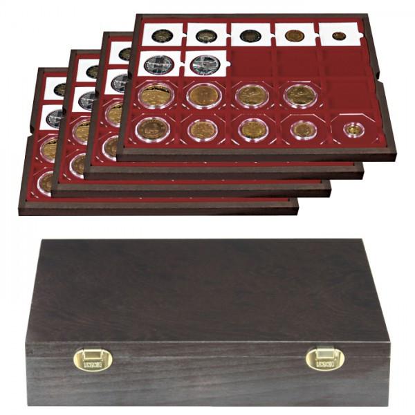 Echtholzkassette CARUS für 80 Münzrähmchen 50x50 mm/Münzkapseln CARRÉE/OCTO Münzkapseln