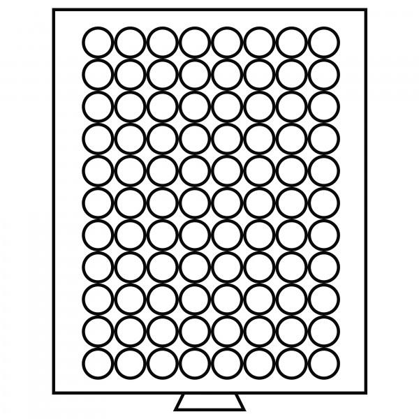 Münzbox 88 runde Fächer (21,5mm), rauchfarben
