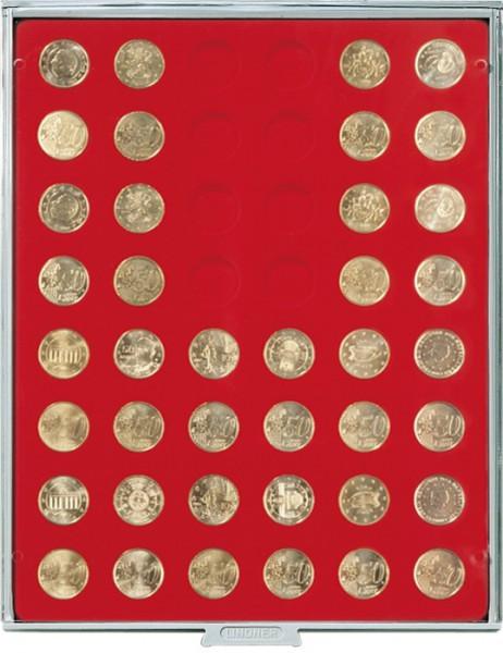 Münzbox STANDARD mit 48 runden Vertiefungen für Münzen mit ø24,25 mm