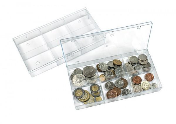 Sammelbox transparent, 6 feste Fächer 63x48 mm, 10er-Packung