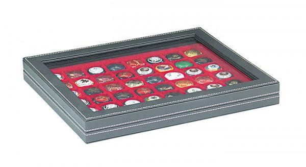 Münzkassette NERA M PLUS mit hellroter Münzeinlage mit 48 quadratischen Fächern für Münzen/Münzkapseln bis ø 30 mm oder Champagner-Kapseln
