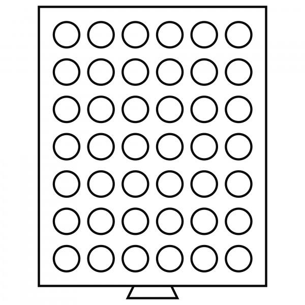 Münzbox 42 runde Fächer (29 mm), rauchfarben