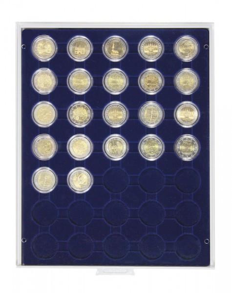 Velourseinlage, dunkelblau, mit 35 runden Vertiefungen für Münzkapseln mit Außen-ø32 mm, z.B. für 2 Euro-Münzen in LINDNER Münzkapseln