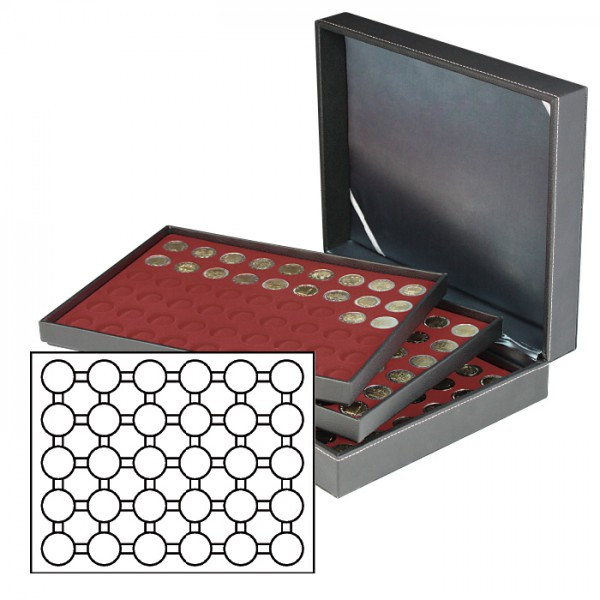 Münzkassette NERA XL mit 3 Tableaus und dunkelroten Münzeinlagen für 90 Münzkapseln mit Außen-ø 37,5 mm, z.B. für orig. verkapselte deutsche 20 Euro-/10 Euro-Silbermünzen in Spiegelglanz
