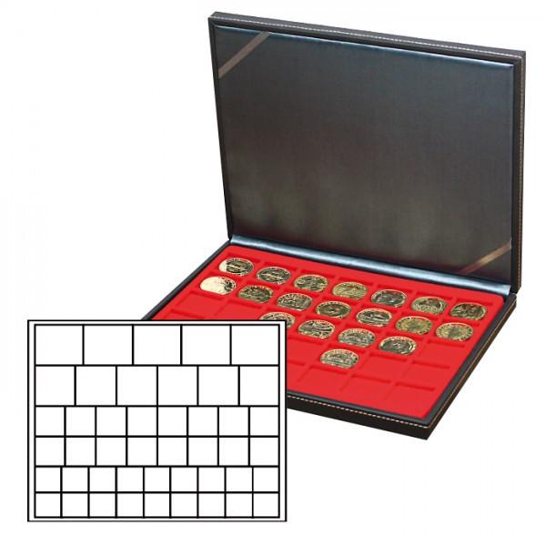 Münzkassette NERA M mit hellroter Münzeinlage mit 45 rechteckigen Fächern für Münzen/Münzkapseln bis ø 24, 28, 39 und 44 mm