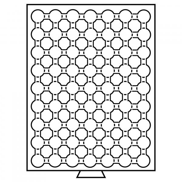 Münzbox 63 Fächer für CAPS 16,5, rauchfarben