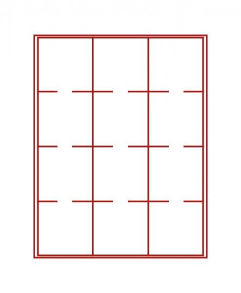 Velourseinlage, dunkelrot, mit 12 quadratischen Fächern für LINDNER Velourseinlage-Inletts 68x68 mm