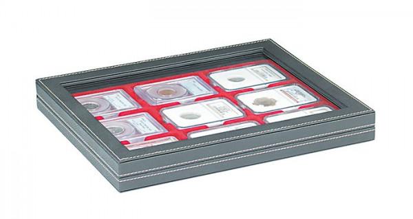 Münzkassette NERA M PLUS mit hellroter Münzeinlage für 9 US-Münzkapseln (Slabs) bis zu einem Format von 63x85 mm