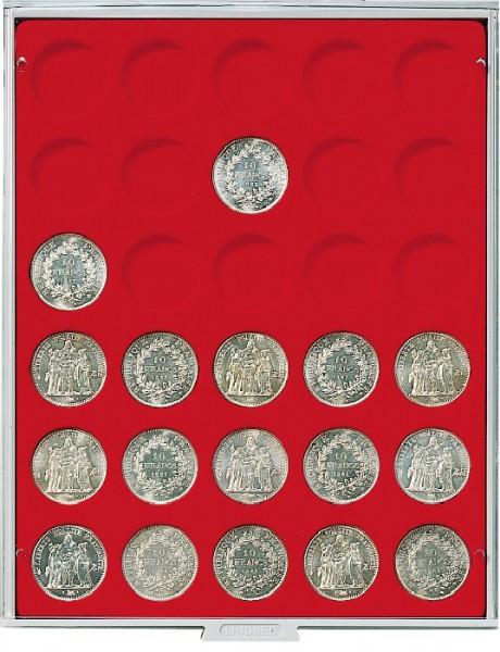 Velourseinlage, hellrot, mit 30 runden Vertiefungen für Münzen mit ø37 mm