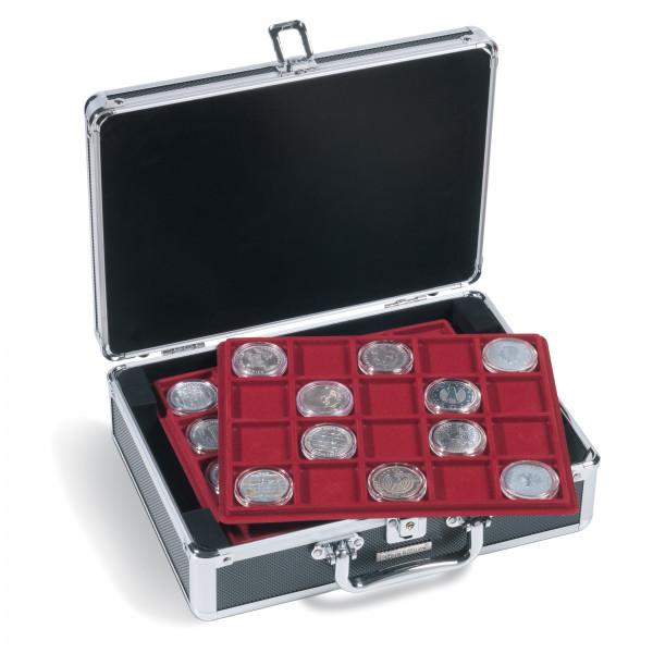 Münzkoffer CARGO S6 für 120 10- / 20-Euro-Münzen in Kapseln, schwarz / silber