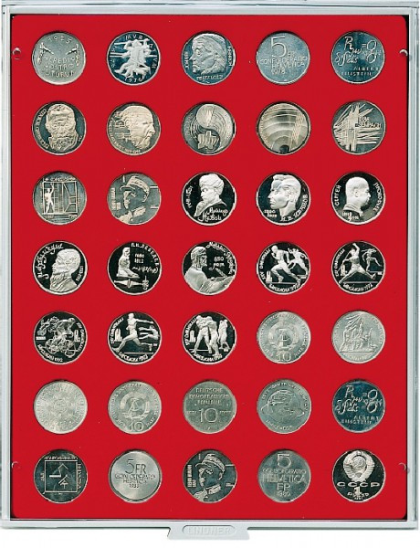 Velourseinlage, hellrot, mit 35 runden Vertiefungen für Münzen mit ø31 mm