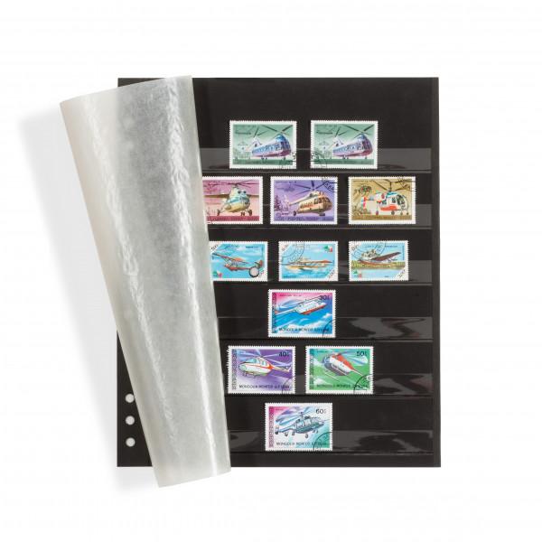 Einsteckblätter OMEGA, schwarzer Karton mit 6 Klarsichtstreifen und Pergamindeckblatt, 5er Pack