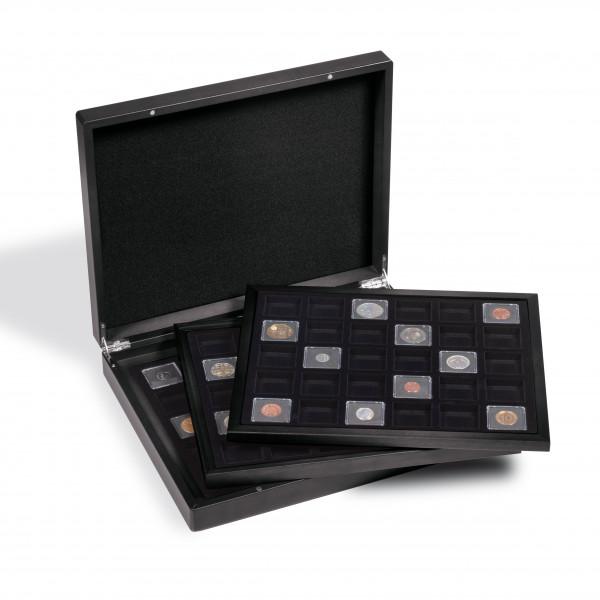 Münzkassette VOLTERRA TRIO für 3x 30 QUADRUM Mini Münzkapseln, 38 x 38mm, schwarz/schwarz