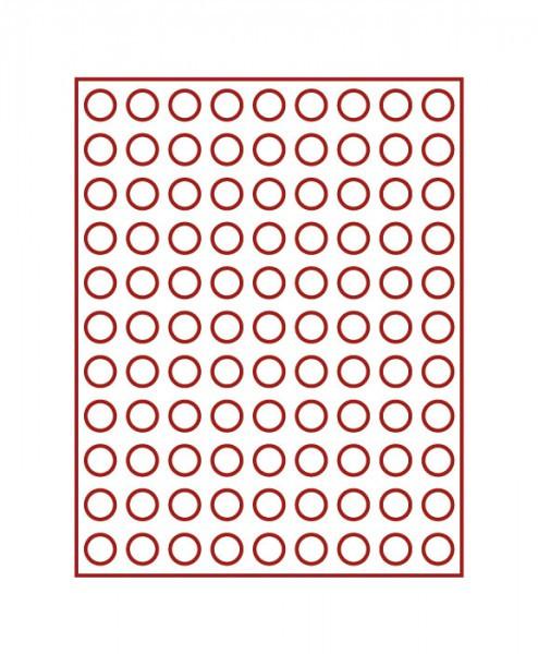 Velourseinlage, dunkelrot, mit 99 runden Vertiefungen für Münzen mit ø20 mm