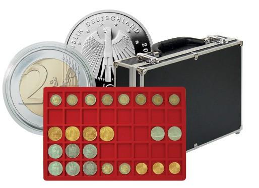 Großer Münzen-Sammelkoffer mit 8 Münztableaus für 320 Münzen oder Münzkapseln bis 34 mm ø